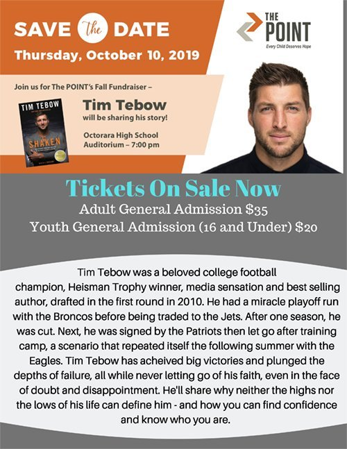 The Parkesburg POINT is execited to welcome Tim Tebow to speak o